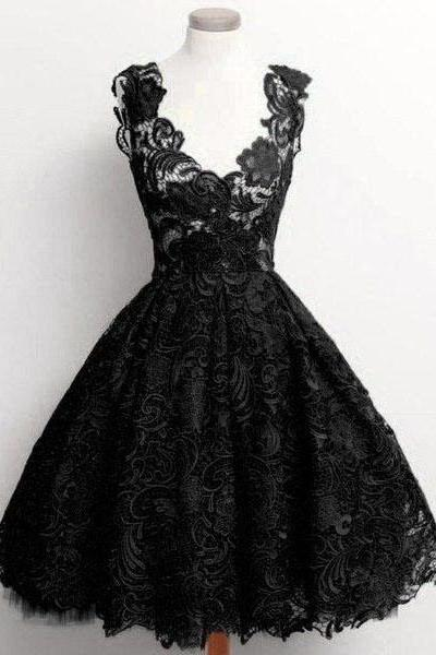 Vintage Black V-neck Short Prom Dress, Sexy See-through Lace Knee Length Prom Dress, Sweet Princess Prom Dress with Lace Appliques, #020102389