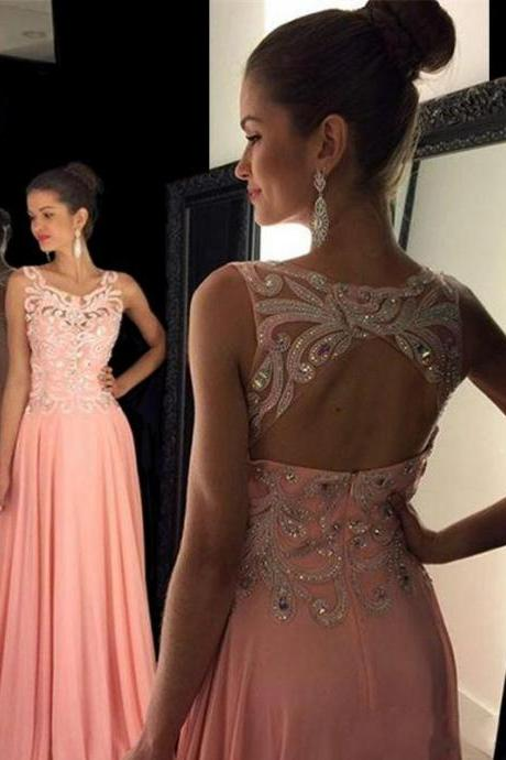 Square Neck Pink Long Prom Dress with Key Hole Back, Chiffon Prom Dress with Lace Appliques and Beads, Elegant Prom Dress with Sweep Train, #020102395