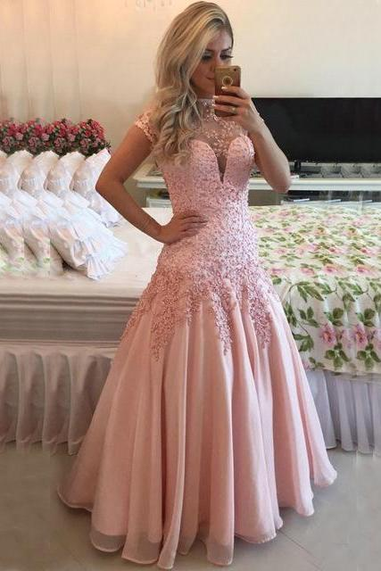 High Neck Short Sleeves Pink Prom Dress, Chiffon Prom Dress with Lace Appliques and Pearl, A-line Tulle Prom Dress with Key Hole Back, #020102398