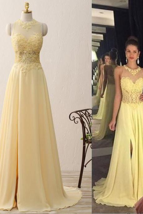 Jewel Neck Floor Length Prom Dress with Sweep Train, Light Yellow Illusion Prom Dress, Chiffon Prom Dress with Lace Appliques and Pearl, #020102400