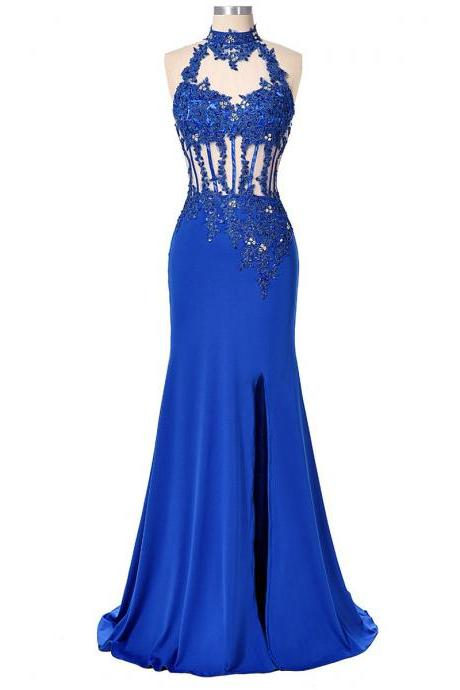 Royal Blue High Neck Chiffon Prom Dresses, Sexy Open Back Prom Dress with Split Front, Trumpet Tulle Prom Dresses with Sparkle Beads, #020102412