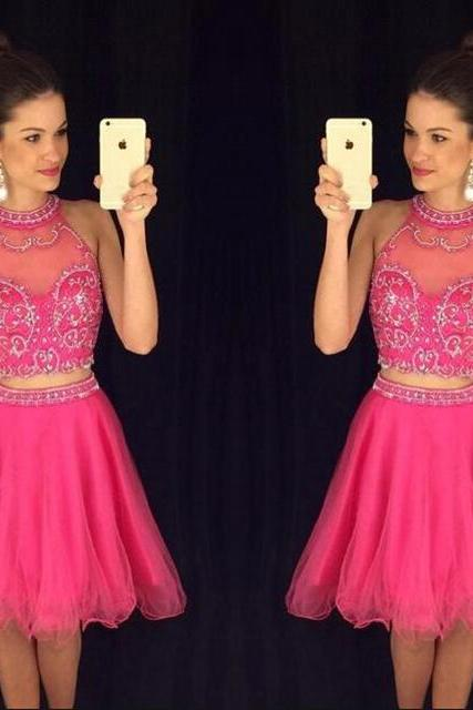 Jewel Neck Two Piece Prom Dresses, Princess Homecoming Dresses, A-line High Neck Tulle with Beading Short/Mini Prom Dresses