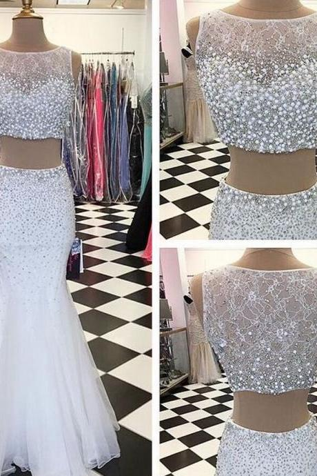 White Two Piece Prom Dresses with Pearl &Sequin Beads, Glittering Beaded Illusion Neck Lace Prom Dress, Mermaid Tulle Crop Top Prom Dress, #020102427