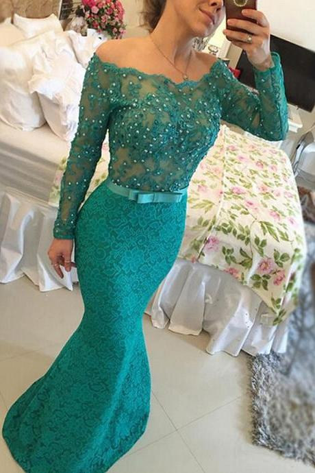 Long Sleeve Lace Prom Dresses, Off the shoulder Teal Prom Dress with Lace Appliques, Pearl Beaded long Elegant Prom Dress with a Chic Bow, #020102429