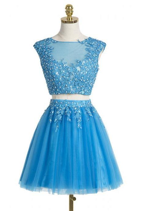 Amazing Cap Sleeve Homecoming Dresses, Beaded Illusion Neck Blue Prom Dresses, A-line Tulle Two Piece Prom Dresses with Lace Appliques, #020102431