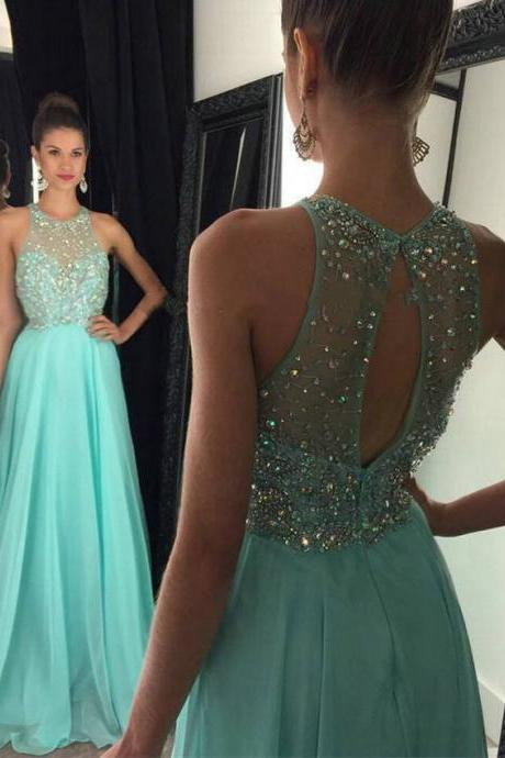 Jewel Neck A-line Crystal Beaded Prom Dress, Mint Green Chiffon Prom Dress with Key Hole Back, Tulle Floor Length Sweep Train Prom Dress, #020102436