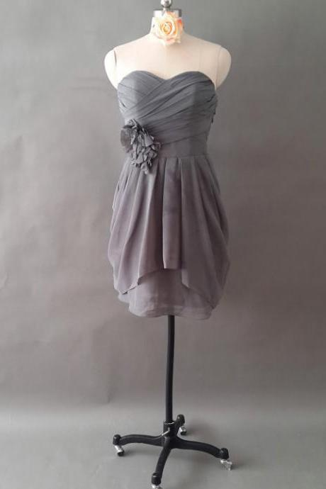 Gray Sweetheart Bridesmaid Dress with Ruching Detail, Unusual Bridesmaid Dress with Hand-made Flowers, Chiffon Bridesmaid Dress with Pleats, #01012497