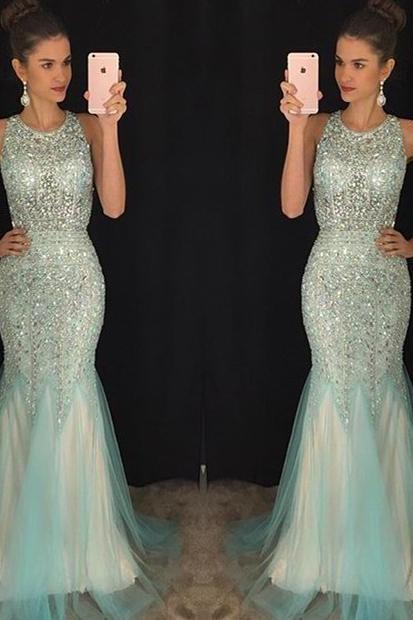 Light Blue Jewel Neck Mermaid Tulle Prom Dress, Sparkling Crystal Beaded Floor Length Prom Dress, Sexy Open Back Sleeveless Prom Dress, #020102448