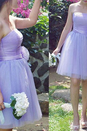 Romantic Lilac Princess Bridesmaid Dress, Elegant Strapless Tulle Bridesmaid Dress with 3-D Flowers, Short Bridesmaid Dresses with a Ribbon, #01012185