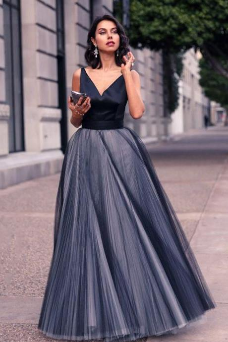 Sexy V neck A-line Floor Length Prom Dress, Elegant Sleeveless Black Grey Tulle Prom Dress, Princess Low Back Prom Dress with Pleats, #020102454