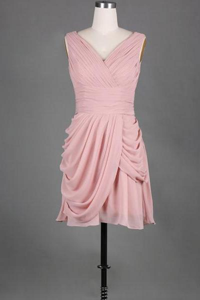 Simple V-neck Pink Bridesmaid Dress, Short Chiffon Bridesmaid Dress with Soft Pleats, Causal Ladies Bridesmaid Dresses with Ruching Detail, #01012389