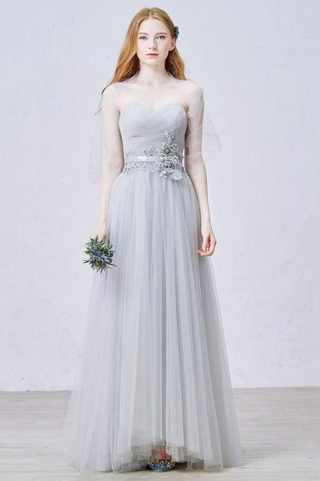 Sweetheart Light Grey Prom Dress with Tulle Shawl, Princess Long Prom Dress with Lace Appliques and Ribbon, Empire Floor Length Prom Dress, #020102455