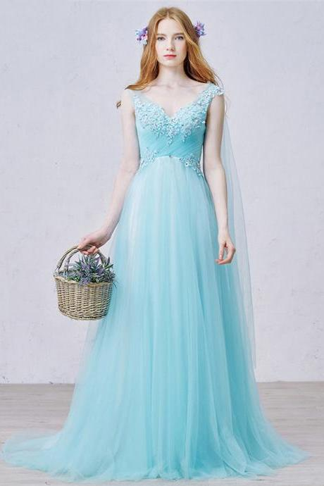 Fairytale A-line V Neck Ice Blue Long Prom Dress, Princess Empire Sweet Train Tulle Prom Dress, Elegant Low Back Lace Appliques Prom Dress, #020102456
