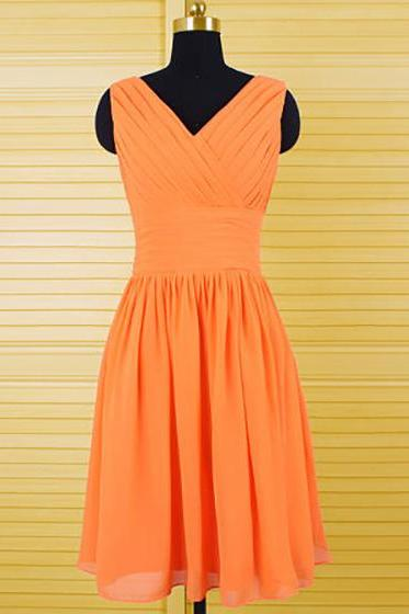 Cheap V-neck V-Back Bridesmaid Dresses, Simple Orange Chiffon Bridesmaid Dresses with Pleats, Pretty Knee-length Bridesmaid Dresses, #01012556