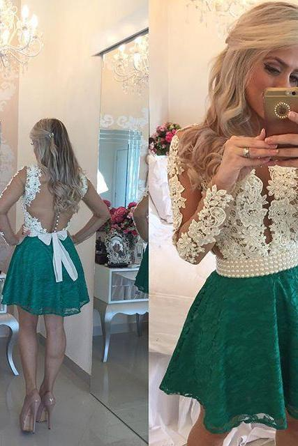 Illusion Deep V Neck Green Short Prom Dress, White Lace Tulle Long Sleeved Prom Dress, Princess Prom Dress with Pearl Belt and Ribbon, #020102457