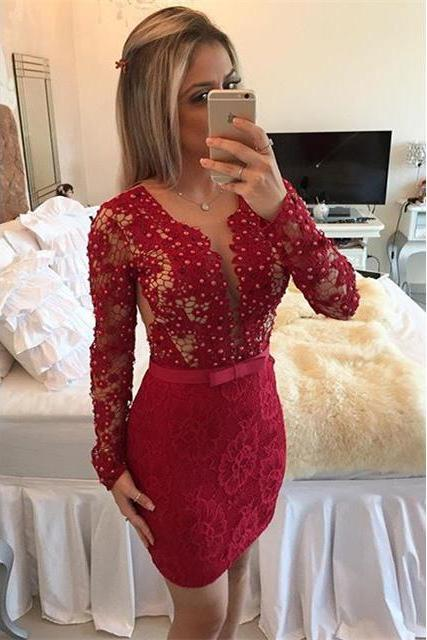 Scoop Neck See-though Lace Short Prom Dress, Long Sleeved Red Bodycon Covered Button Prom Dress, Deep V-neck Pearl Ribbon Mini Prom Dress, #020102458