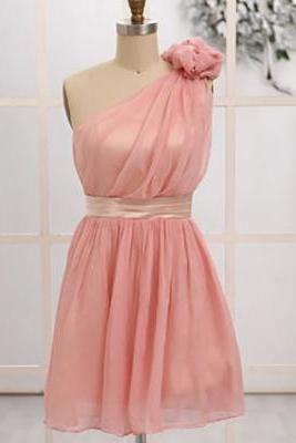 Pink Bridesmaid Dress with a Hand-made Flower, One Shoulder Junior Bridesmaid Dresses, Short Asymmetric Chiffon Bridesmaid Dresses, #01012472