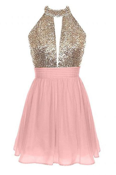 Sweet Halter Short Backless Chiffon Prom Dress, Sparkling Sequined Sleeveless Princess Mini Prom Dress, Sexy Open Back A-line Prom Dress, #020102461