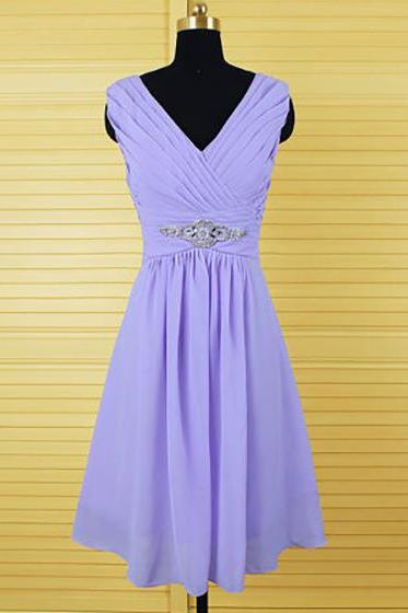 Elegant Purple Bridesmaid Dresses, Knee-length Lavender Bridesmaid Dresses, Chiffon Lavender Bridesmaid Dresses with Crystal Detailing, #01012555