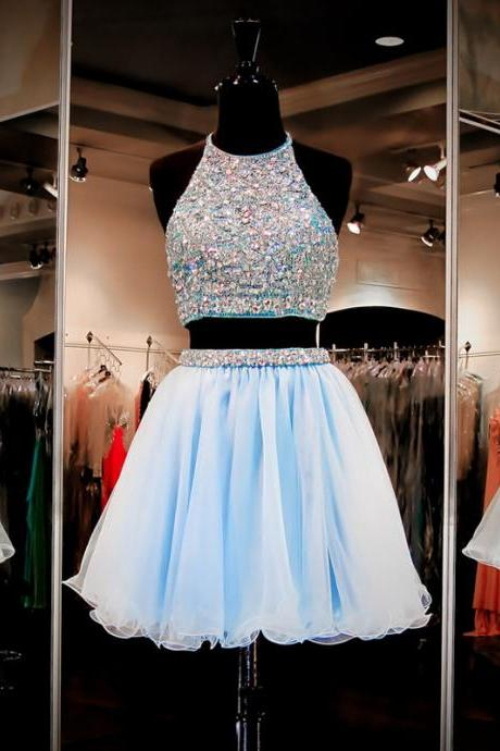 Jewel Neck Light Blue Open Back Short Prom Dress, Halter Two Piece Crystal Beaded Tulle Prom Dress, Princess Sequins Mini Prom Dress, #020102463