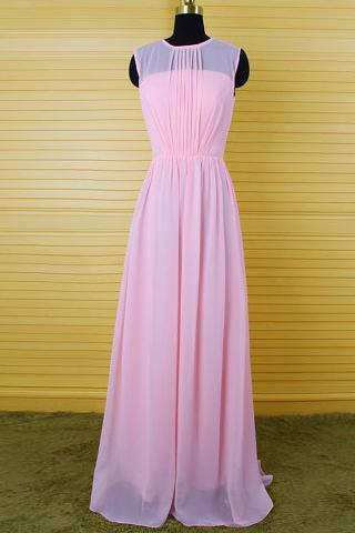 Sweet Pearl Pink Bridesmaid Dresses with a Keyhole Back, Long Bridesmaid Dress with Pleats, Scoop Neck Chiffon Column Bridesmaid Dress, #01012542
