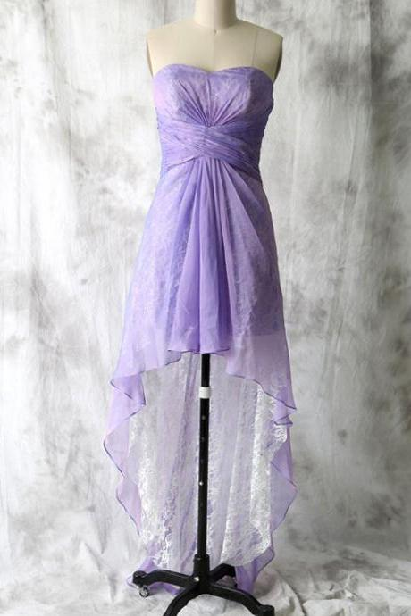 Asymmetrical Lavender Bridesmaid Dresses, Superior Lace High Low Bridesmaid Dresses, Sweetheart Long Chiffon Bridesmaid Dresses, #01012552
