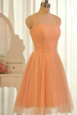 Orange Bridesmaid Dresses, Sweetheart Short Bridesmaid Dresses with Tulle Straps, Popular Knee-length Bridesmaid Dresses with Soft Pleats, #01012504