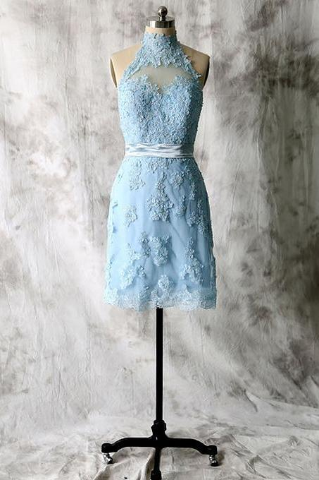High Neck Blue Bridesmaid Dresses with Gorgeous Lace Appliques, Short Tulle Bridesmaid Dresses with Keyhole Back, Sexy Bridesmaid Dresses, #01012538