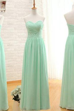 Mint Green Bridesmaid Dresses, A-line Sweetheart Bridesmaid Dresses with Ruched Bust, Sage Long Chiffon Bridesmaid Dresses, #01012407