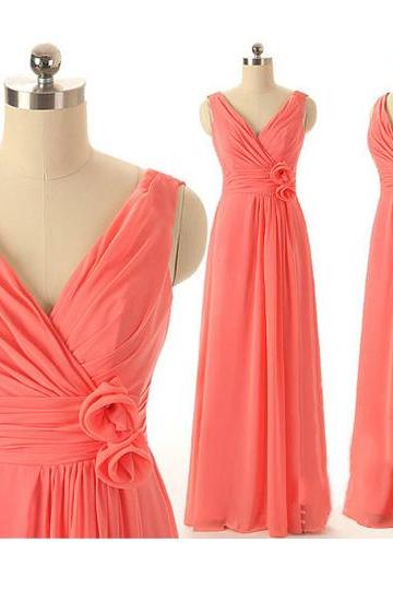 Watermelon Bridesmaid Dresses with Soft Pleats, Long Chiffon Bridesmaid Dresses, Affordable V-neck Bridesmaid Dresses, #01012409