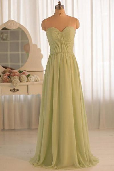 Simple Sweetheart Bridesmaid Dresses, Long Chiffon Bridesmaid Dresses, A-line Sage Bridesmaid Dresses with Ruching Detail, #01012412