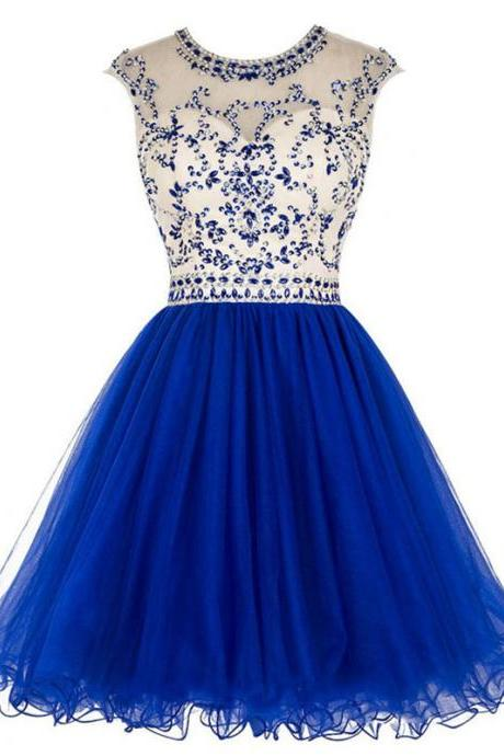 Princess Illusion Royal Blue Short Prom Dress, Shining Beaded Cap Sleeves Pleats Prom Dress, Elegant Open Back A-line Tulle Prom Dress, #020102475