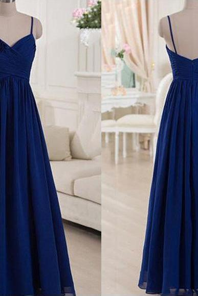 Spaghetti Straps Royal Blue Long Bridesmaid Dress, A-line Flower Chiffon Bridesmaid Dress, Elegant Floor Length Pleats Bridesmaid Dress, #01012518