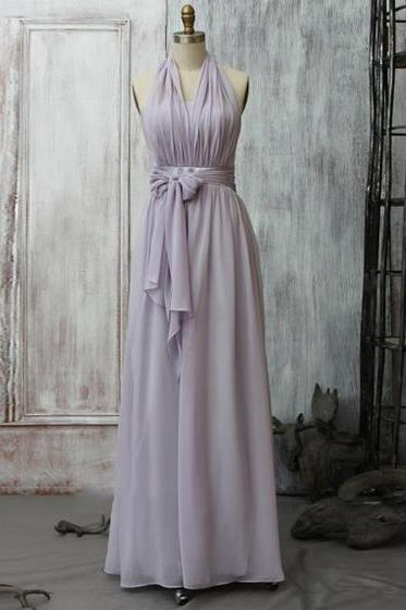 Lavender Halter Chiffon A-line Floor-Length Bridesmaid Dress with Ribbon Sash