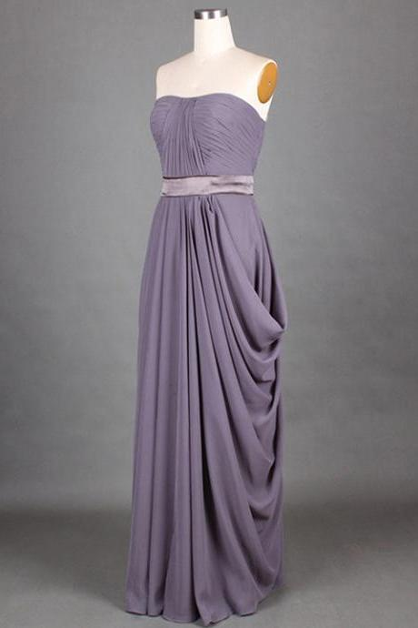 Unique Strapless Ruched Long Bridesmaid Dress, Wisteria A-line Ribbon Bridesmaid Dress, Floor Length Chiffon Bridesmaid Dress, #01012417