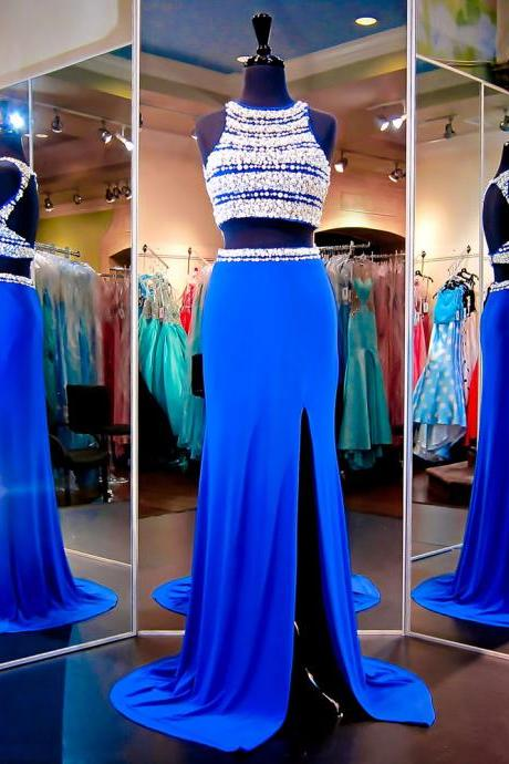 Sparkling Jewel Neck Crystal Pearl Tulle Prom Dress, Royal Blue Long Chiffon Front Split Prom Dress, Two Piece Open Back Long Prom Dress, #020102481