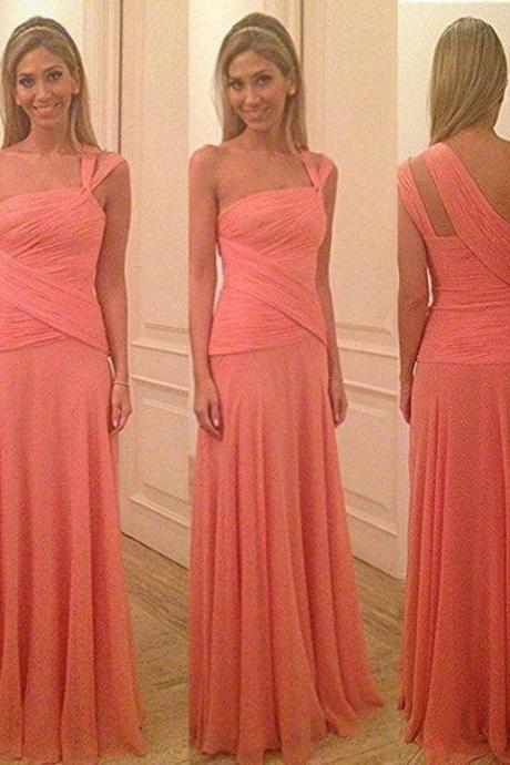 Asymmetric One Shoulder Pink Bridesmaid Dress, Sheath Chiffon Long Bridesmaid Dress, Watermelon Floor Length Bridesmaid Dress, #01012580