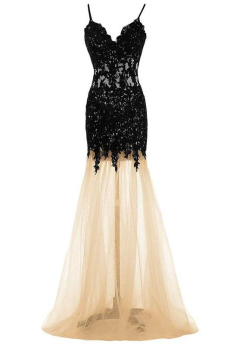 Sexy Black See-through Long Prom Dress, Spaghetti Straps Mermaid Floor Length Prom Dress, Low Back Tulle Prom Dress with Lace Appliques, #020102489