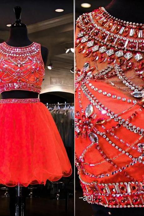 Sparkling Red Crystal Beaded Jewel Neck Short Prom Dress, Key Hole Back Two Piece Tulle Prom Dress, Sweet Crop Top Mini Prom Dress, #020102494