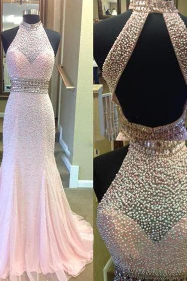 Jewel Neck Pink Mermaid Long Prom Dress, High Neck Crystal Pearl Sweep Train Prom Dress, Sexy Open Back Floor Length Tulle Prom Dress, #020102495