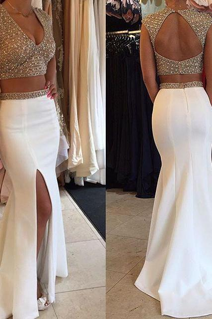 Sexy V Neck Cap Sleeves Long Prom Dress, Crystal Two Piece Mermaid Silk-like Satin Prom Dress, Open Back White Front Split Prom Dress, #020102497