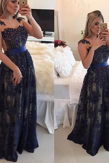 Illusion A-line Navy Blue Long Prom Dress, Lace Appliques Sash Pearl Tulle Prom Dress, Princess Covered Button Floor Length Prom Dress, #020102498