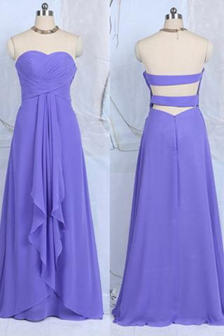 Blue Violet Bridesmaid Dresses with Ruffles, Sweetheart Chiffon Bridesmaid Dresses, Floor-length Open Back Bridesmaid Dresses, #01012502