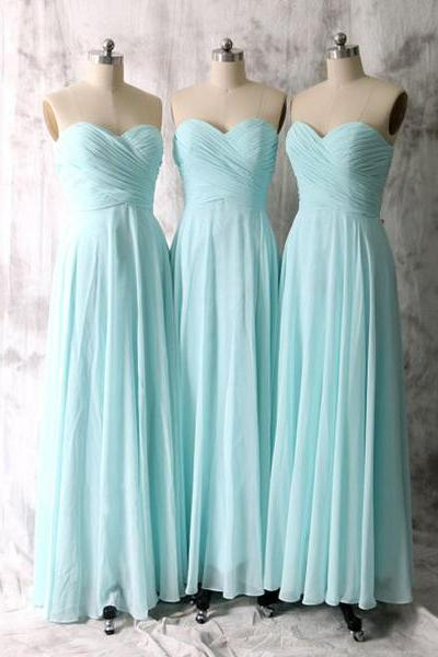 Baby Blue Bridesmaid Dresses, Simple Long Bridesmaid Dresses with Ruching Detail, Sweetheart Chiffon Bridesmaid Dresses, #01012535
