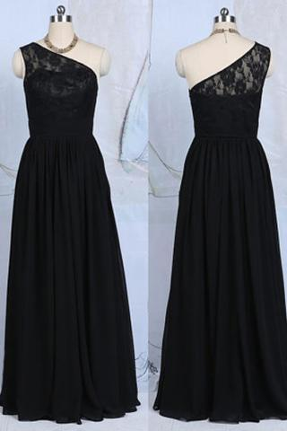 Black Lace One Shoulder A Line Floor Length Bridesmaid Dress