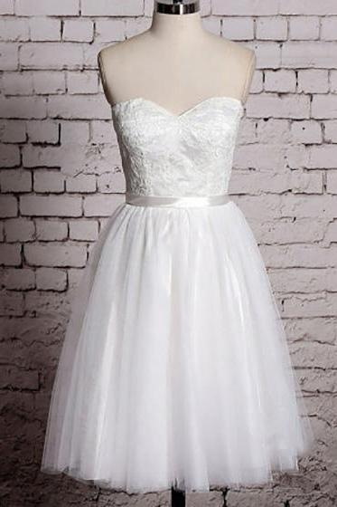 Pretty Sweetheart White Short Wedding Dress, Sweet Sleeveless A-line Knee Length Bridal Gown, Elegant Lace Ribbon Tulle Wedding Dress, #00020533