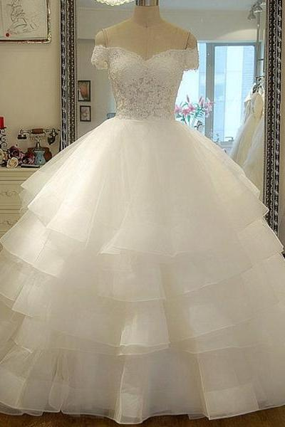 Dreamlike Off the Shoulder Pure White Wedding Dress, Lace-up Tiered Ball Gown Bridal Gown, Organza Ruffles Court Train Wedding Dress, #00020986