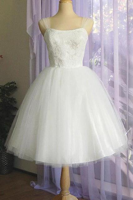 Pretty Knee-length Wedding Dress with Gorgeous Lace Appliques, Satin White Wedding Dress with Tulle Straps, Square Neckline Bridal Gown, #00020612