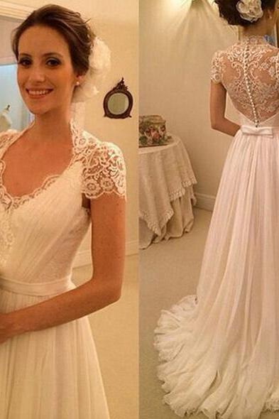 Elegant V-neck Aline Long Wedding Dress, Princess Short Sleeves Ribbon Chiffon Bridal Gown, Lace Appliques White Tulle Wedding Dress, #00021497
