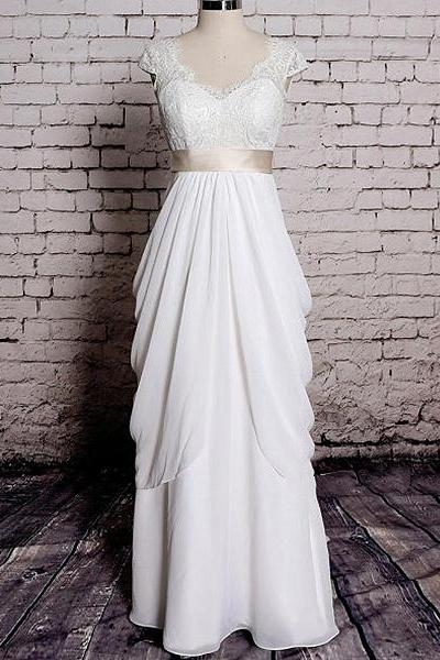 Chic V-neck Lace Cap Sleeves Wedding Dress, Ruched Column White Long Bridal Gown, Elegant Covered Button Sash Chiffon Wedding Dress, #00020572